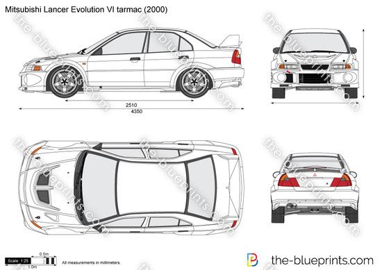 Mitsubishi Lancer Evolution VI tarmac vector drawing