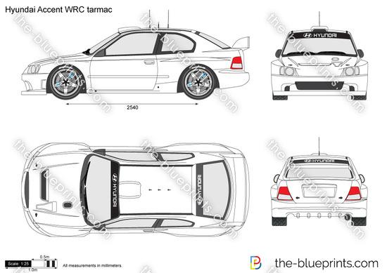 Hyundai Accent WRC tarmac vector drawing