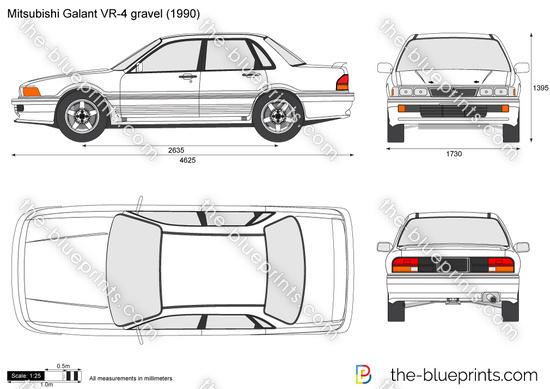 Mitsubishi Galant VR-4 gravel vector drawing