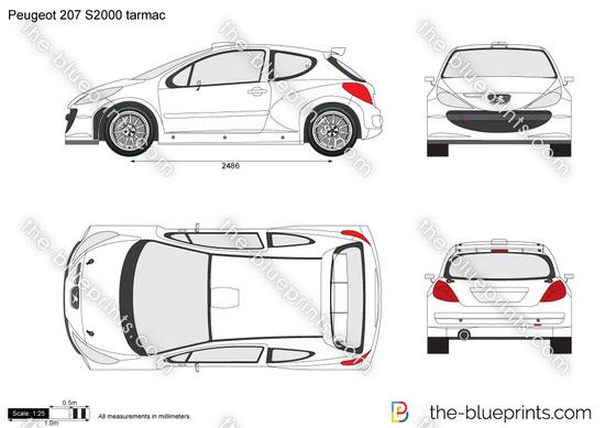 Peugeot 207 S2000 tarmac vector drawing