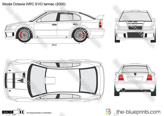 Skoda Octavia WRC EVO tarmac vector drawing