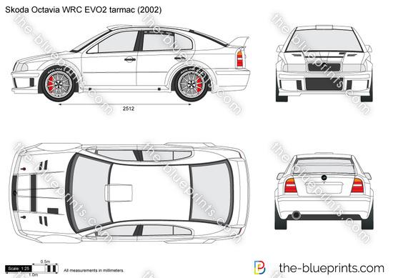 Skoda Octavia WRC EVO2 tarmac vector drawing