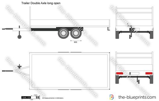 Trailer Double Axle long open vector drawing