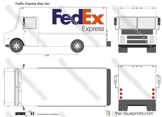 FedEx Express Step Van vector drawing