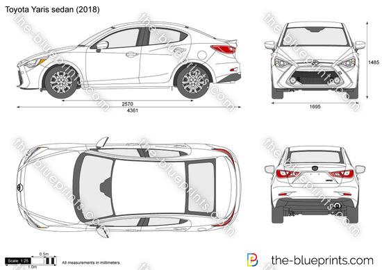 Toyota Yaris sedan vector drawing