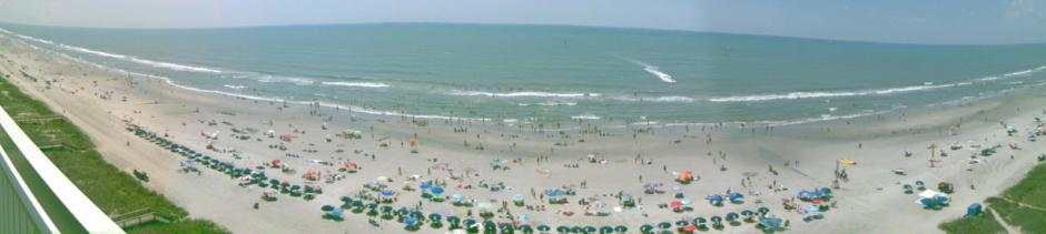 Panoramic view of the beach from the condo.