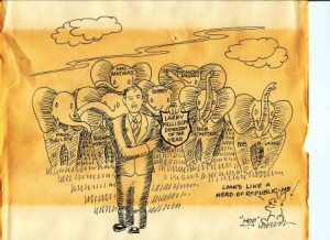 St. Mary's Commissioner Larry Millison often supported Republicans. He was honored as the Democrat of the Year in 1989. He served three terms as a county commissioner and one on the school board.  This toon by George Hopkins for The Chesapeake