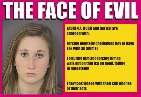 Lauren Bush - The Face of Evil - she and her pal tortured autistic kid
