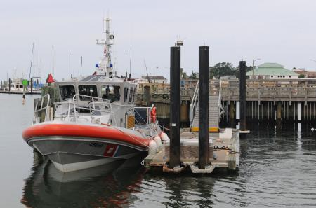 Coast Guard Station Cape Charles' new 45-foot Response Boat - Medium is shown moored at the station, Friday, Aug. 24, 2012. The RB-M marks the 100th boat of 166 being delivered to the Coast Guard to replace the aging UTB fleet. U.S. Coast Guard photo by Petty Officer 3rd David Weydert