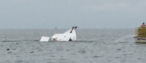Gerry C from Ridge, Md. owned by Capt. Jim Cullison, sunk near Tangier Island on April 28, 2014. Photo courtesy of Fritz View from the Beach blog.
