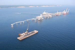 Cove Point LNG gas plant dock in Chesapeake Bay