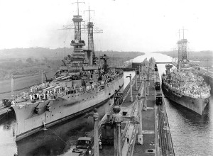 USS Arkansas, left, passing through the Panama Canal. Library of Congress