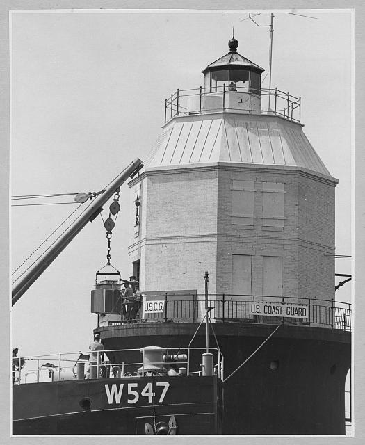 Baltimore Lighthouse, Chesapeake Bay, Maryland, showing installation of atomic generator, 1964