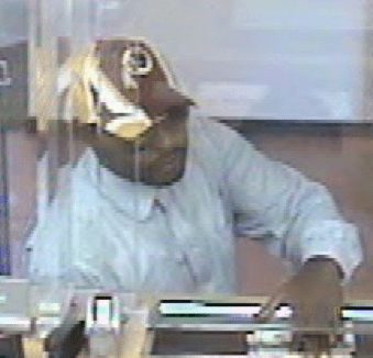 Redskins bank robber view taken by bank camera.