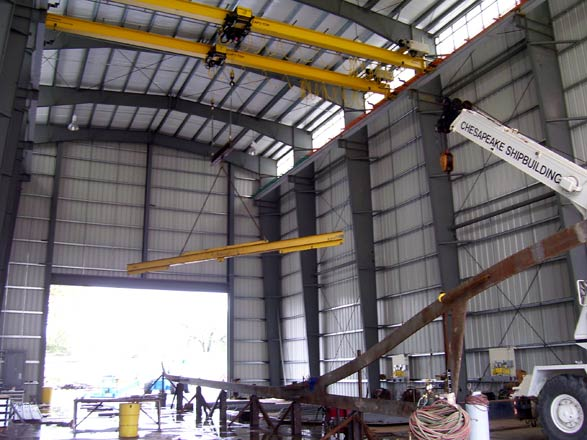 One of the large worksheds of Chesapeake Shipbuilding at Salisbury, Md.