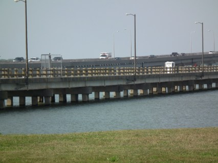Old Choptank River bridge retained as the Bill Burton Fishing Pier. Burton was the fishing writer for the Baltimore Sun who championed Chesapeake Bay wildlife and fishing for decades. He pushed for saving the old bridge structure as a fishing pier.  THE CHESAPEAKE TODAY photo