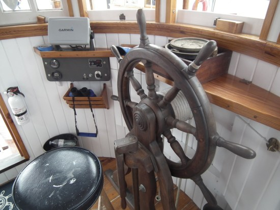 The wheelhouse of the F. D. Crockett shows the painstaking care which has been provided by the teams of volunteers at the Deltaville Maritime Museum to bring the historic oyster Buyboat back to life.  John England said that the ship was headed towards the boat graveyard as shown below on Nomini Bay, when the volunteers decided to tackle the task.  THE CHESAPEAKE TODAY photo.