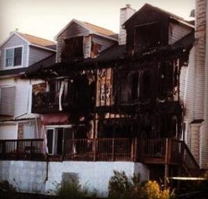 Chesapeake Beach arson fire. Photo courtesy of North Beach VFD.
