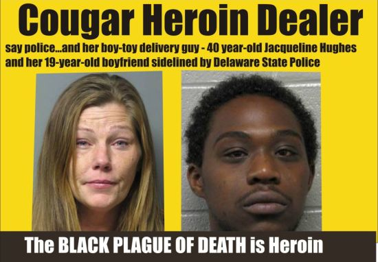 Cougar heroin dealer Jacqueline Hughes and her boy toy delivery guy