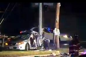 Livingston Road crash that killed five people when Mercedes slammed into car stopped for a light.  Three are critically injured.  Photo courtesy of WJLA.