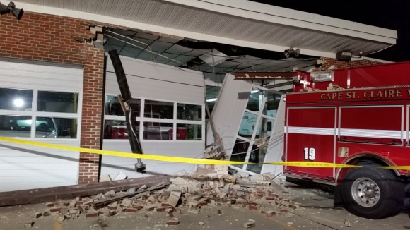 Cape Saint Claire station shows building damaged by backing fire engine.  Photo Anne Arundel Fire Dept.
