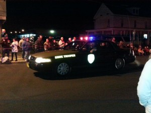 Maryland State Trooper drives in the Federalsburg Christmas parade