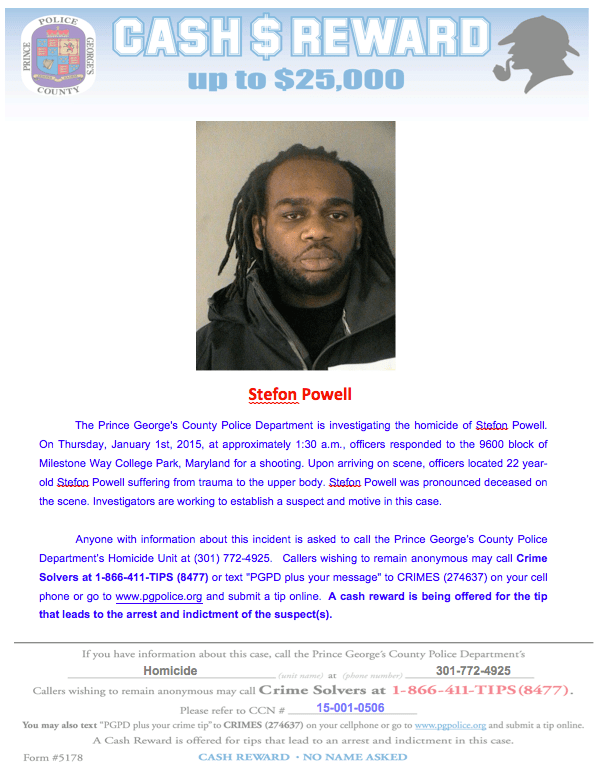 Stefon Powell murdered in College Park Md Jan 1 2015