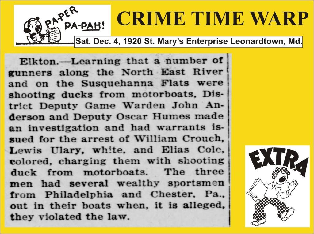 Crime Time Warp Dec 4 1920 gunboat shooters