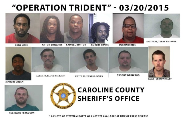 Operation Trident Caroline County Va. Sheriff Drug Roundup