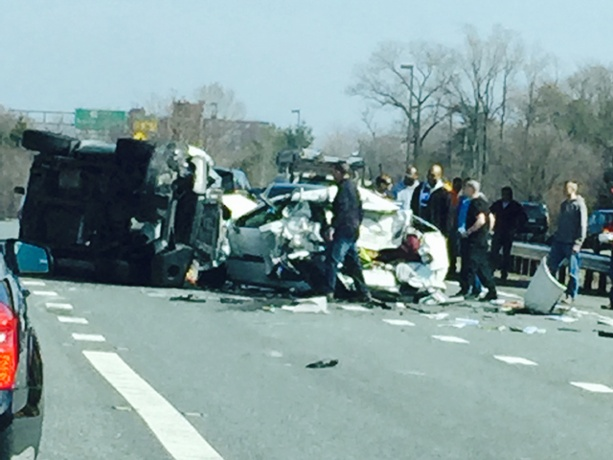 Maryland State Police report that Takoma Park Police Officer Travis Ala in a police vehicle, failed to slow for stopped traffic as he entered Rt. 50 and killed a passenger in a stopped vehicle. Photo courtesy of WBAL TV Baltimore.