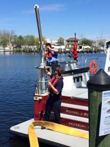 Ready aim fire Salisbury FD fireboat training.