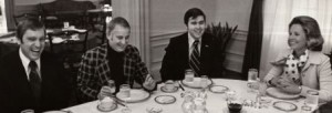 First Lady Jeanne Dorsey Mandel host Southern Maryland legislators Sprauge, Simpson and Dyson for breakfast in the Governor's Mansion in 1975.