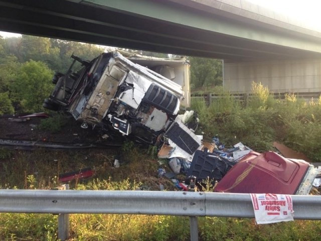 Wrong way driver from Eastern Shore killed the driver of this big rig and her son. Photo courtesy of WHAG TV