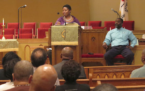 Barvetta Singletary, staffer and policy director for Congressman James Clyburn, SC-6th district, shares information about the Affordable Care Act, also known as Obamacare, with more than 150 people at Cumberland United Methodist Church during a town hall type meeting held to try and clear up confusion over the law on Thursday, September 26, 2013.