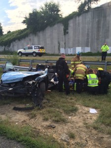 Tractor trailer and sedan collide on Rt. 2 in Harwood. Photo by Anne Arundel County Fire Department.
