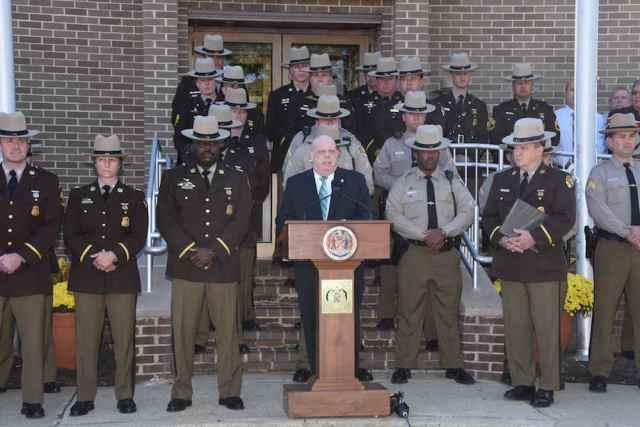 Maryland Gov. Larry Hogan reopening Annapolis Barrack of Maryland State Police