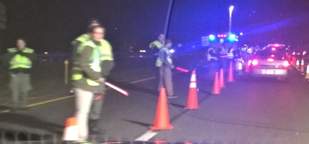 Sobriety Checkpoint on Rt. 228 Waldorf officers stack in a dozen vehicle into stop lane at a time. 121615