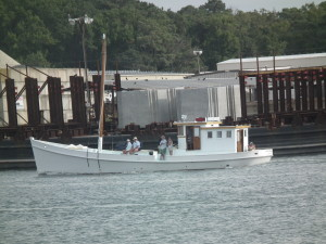 Historic Oyster Buyboat arriving in port at Cape Charles, Virginia. THE CHESAPEAKE TODAY photo