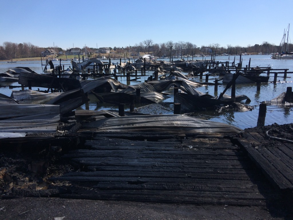 The devastation from this fire which swept a marina was complete for this dock. Photos courtesy of Virginia State Police