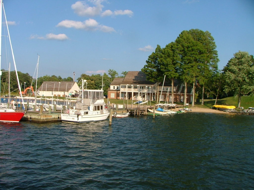 "The three-story ""boathouse"" with luxury dining facilities overlooks the St. Mary's River and frequently hosts various functions for the College and Historic St. Mary's City Commission.  THE CHESAPEAKE TODAY photo"