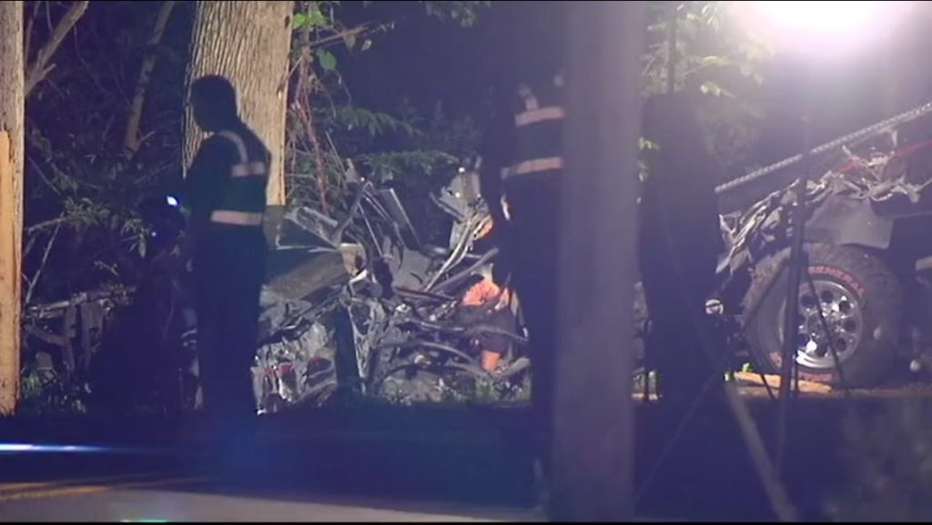 Photo of death scene of three teens near Clarksburg Md. Photo NBC 4