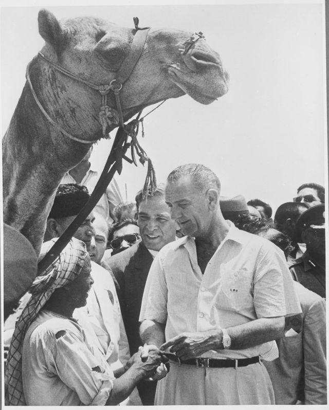 Vice President Lyndon B. Johnson shakes hands with Bashir Ahmed. May 20, 1961. LBJ Library