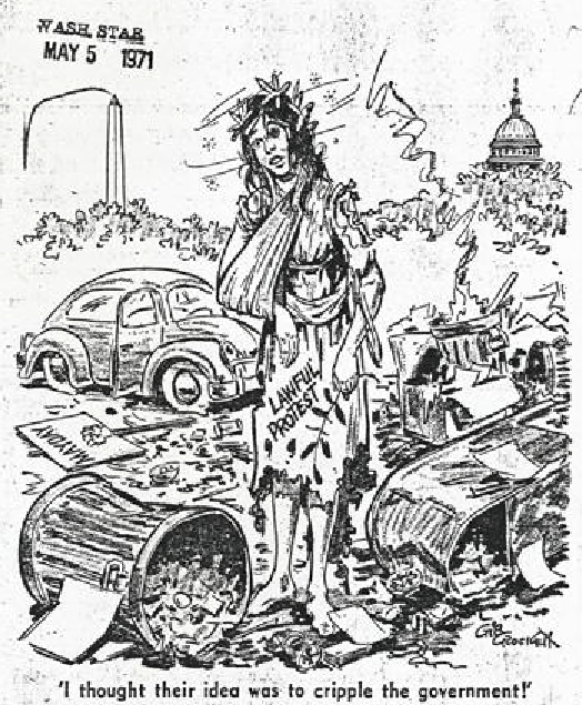 War protesters left mess behind in Lafayette Park Editorial cartoon in Washington Star May 5, 1971 Gib Crockett