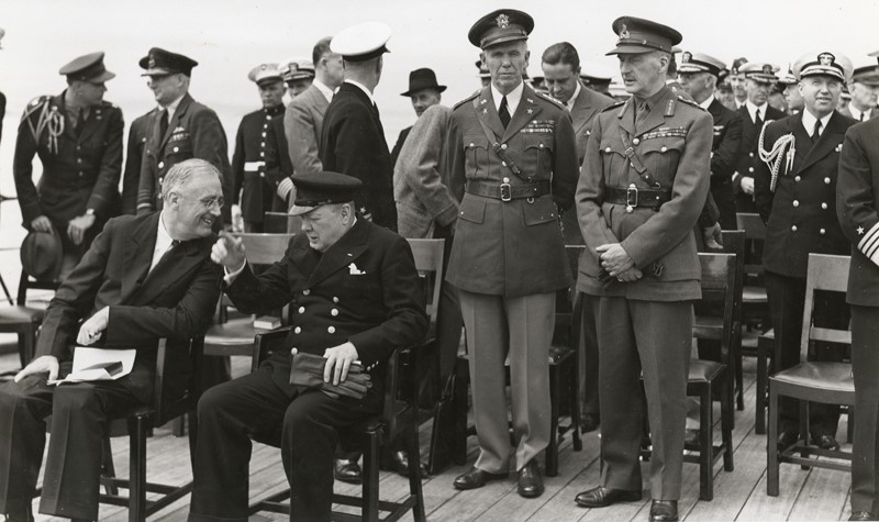 President Roosevelt and Prime Minister Churchill aboard the HMS Prince of Wales during the Atlantic Conference in Placentia Bay, Newfoundland. Aug. 10, 1941
