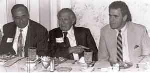 St. Mary's Commissioner Larry Millison, left, was honored at the annual Democratic Club Democrat of the Year Dinner in 1989.  Millison was elected three times as commissioner after serving on the board of education.  Center is the late Senator Paul Bailey, and Maryland Senate President Mike Miller, right.  THE CHESAPEAKE staff photo