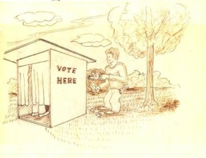 George Hopkins penned this toon for The Chesapeake depicting how elections were held in St. Mary's County with a ballot and a buck slipped into a voting booth in Valley Lee.  Walk-around money and liquor sales were banned in Maryland and now only the dead and illegal aliens can get special voting privileges.