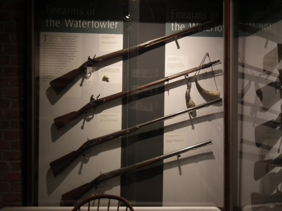 Long rifles galore are available for inspection, explaining the long history of hunting along the shores and marshes of the Chesapeake Bay. THE CHESAPEAKE TODAY photo