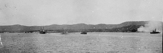 Landing marines and burning fishing village at Guantanamo, June 10, 1898
