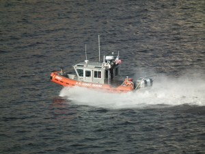 Coast Guard fast response boat underway.  THE CHESAPEAKE TODAY photo