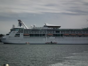 Grandeur of The Seas with passengers being shuttled by tenders to shore. THE CHESAPEAKE TODAY photo